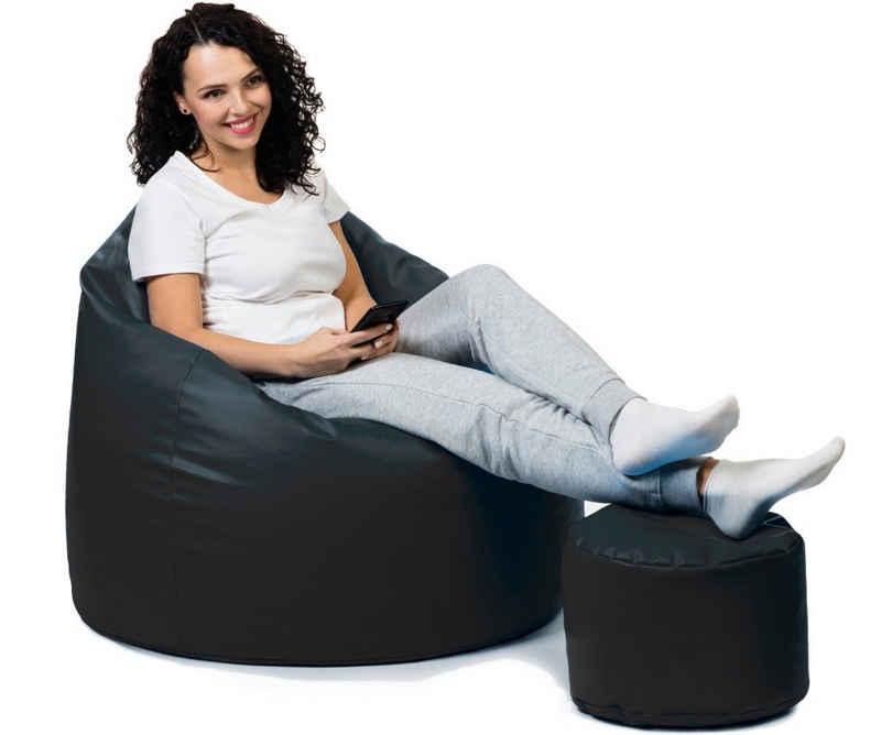 sunnypillow Sitzsack »Sitzsack, Outdoor & Indoor«, Premium XL Sitzsack mit Hocker Outdoor & Indoor mit 160L Styropor Füllung Sessel für Kinder & Erwachsene Sitzkissen Sofa Beanbag viele Farben zur Auswahl