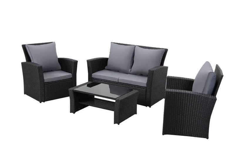 MeXo Gartenmöbelset »Loungeset Rattan Garten Balkonmöbel Set 3-4 Personen mit Tisch Kissen«, (Sitzgruppe 4-tlg)