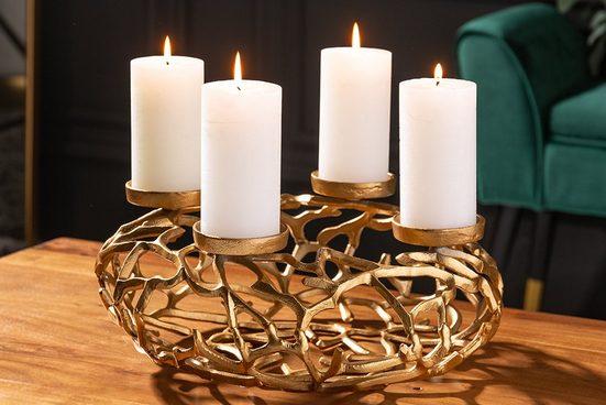 riess-ambiente Kerzenhalter »ABSTRACT 38cm gold« (1 Stück), Metall · Deko · Kranz aus Ästen · für 4 Kerzen · Wohnzimmer