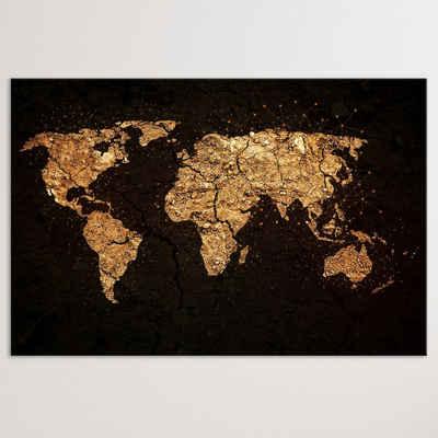 "Dekoli Leinwandbild »""Grunge Weltkarte"" - XXL Wandbild«, Leinwandbild geeignet für alle Wohnbereiche"