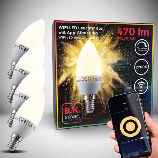 B.K.Licht LED-Leuchtmittel, E14, 4 Stück, Warmweiß, Smart Home LED-Lampe RGB WiFi App-Steuerung dimmbar Glühbirne 5,5W 470 Lumen