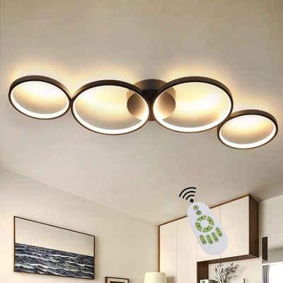 ZMH LED Deckenleuchte »Deckenlampe Modern 4 Flammig in Ringoptik Dimmbar 55W Weiß/Schwarz Innen aus Aluminium«