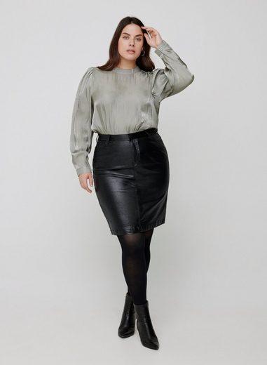 Zizzi Minirock Große Größen Damen Slim Fit Rock mit Schimmer und Schlitz