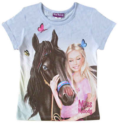 Miss Melody T-Shirt »Miss Melody T-Shirt Reiterin Pferd Schmetterlinge« (1-tlg)
