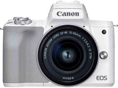 Canon »EOS M50 MII + EF-M 15-45 f3.5-6.3 IS STM« Systemkamera (24,1 MP, WLAN (Wi-Fi), Bluetooth, NFC, blauer Rucksack + 32GB SD-Karte + 10 € CEWE-Fotogutschein)