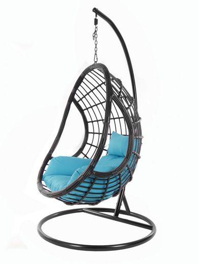 KIDEO Hängesessel »PALMANOVA black«, Schwebesessel, Swing Chair, Hängesessel mit Gestell und Kissen, Nest-Kissen