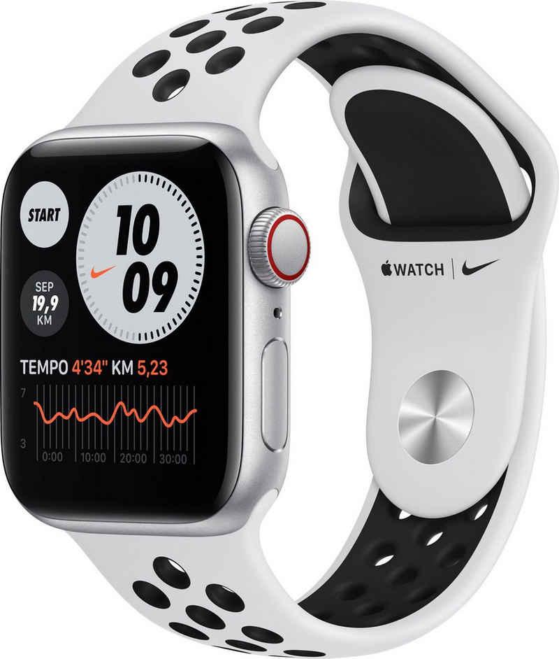 Apple Nike SE GPS + Cellular, Aluminiumgehäuse mit Nike Sportarmband 40mm Watch, inkl. Ladestation (magnetisches Ladekabel)