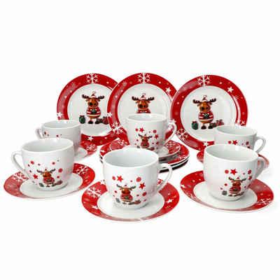 van Well Kaffeeservice »Kaffeeservice Elch 18tlg. für 6 Personen weiß mit Weihnachtsdekor lustiger Elch«