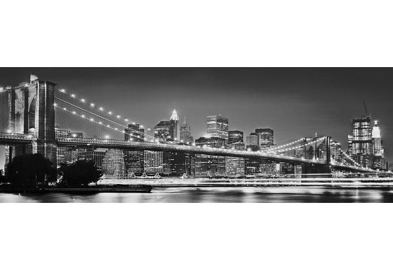 Fototapete, Komar, »Brooklyn Bridge«, 368/127 cm in grau/schwarz