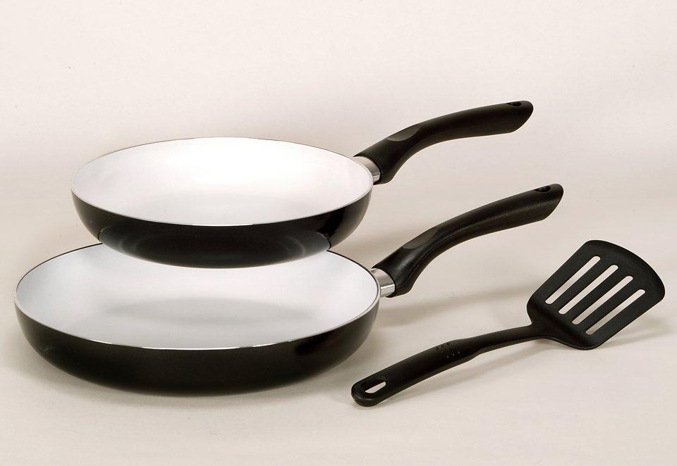 SET: Pfannenset - mit weißer Keramik Beschichtung, Krüger, »RIGA« (3tlg.) in schwarz
