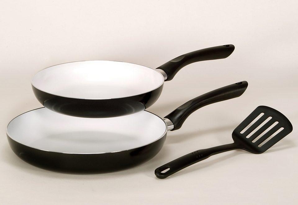 SET: Pfannenset - mit weißer Keramik Beschichtung, Krüger, »RIGA« (3tlg.)