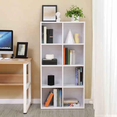 VASAGLE Bücherregal »LBC24WT«, Bücherschrank aus Holz, Regal mit 8 Fächern, für Büro, Zuhause, weiß