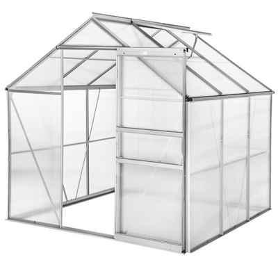 tectake Gewächshaus »Gewächshaus ohne Fundament«, 4.0 mm Wandstärke, Fundament, Wandverkleidung, Dachfenster, Schiebetür, UV resistent