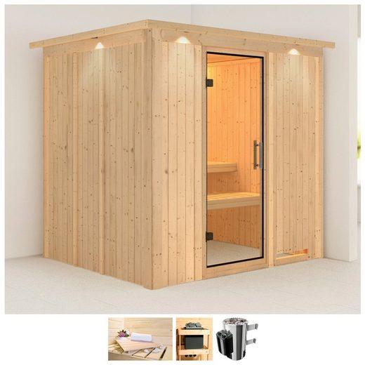 KARIBU Sauna »Daria«, 210x184x202 cm, 3,6 kW Plug&Play Ofen mit Strg, Dachkranz
