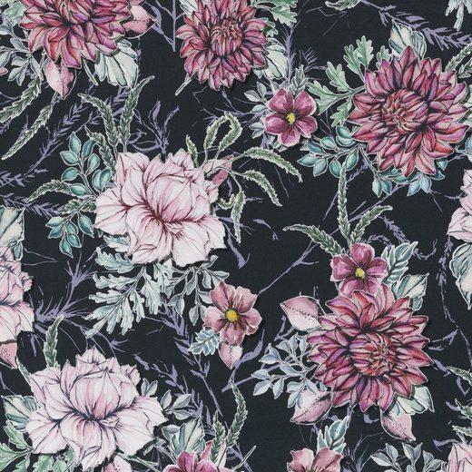 larissastoffe Stoff »Jersey Stoff Blumen Aquarell, Swafing schwarz«, Stoffe zum Nähen, Meterware, 50 cm x volle Breite
