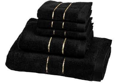 Aymando Handtuch Set »Dubai Kollektion« (Spar Set, 2-tlg), luxuriöse Verarbeitung Qualität aus 100% bester ägyptischer premium Baumwolle (GIZA 86) 50x100cm 600 g/m², Black-Gold