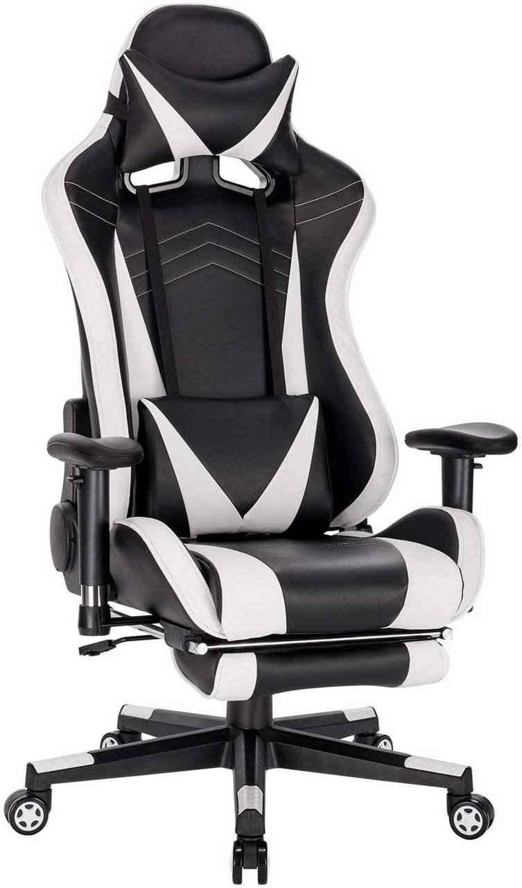 Woltu Gaming-Stuhl »BS93« (1 Stück), Racing Stuhl Bürostuhl Computer Stuhl PC Stuhl Arbeitsstuhl Chefsessel Drehstuhl höhenverstellbar mit Armlehnen mit Kopfkissen Lendenstütze Fußstütze aus Kunstleder