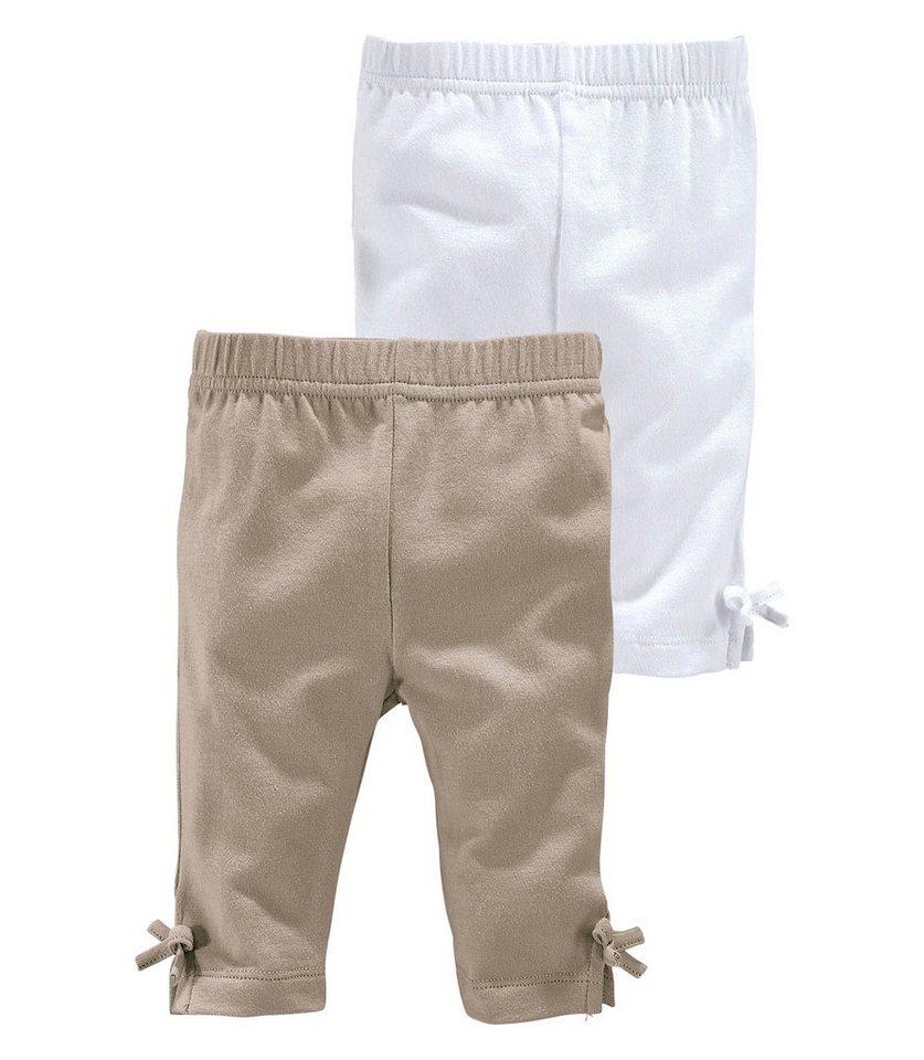 Klitzeklein Leggings Schlitz mit Zierschleife am Saum in beige+weiß