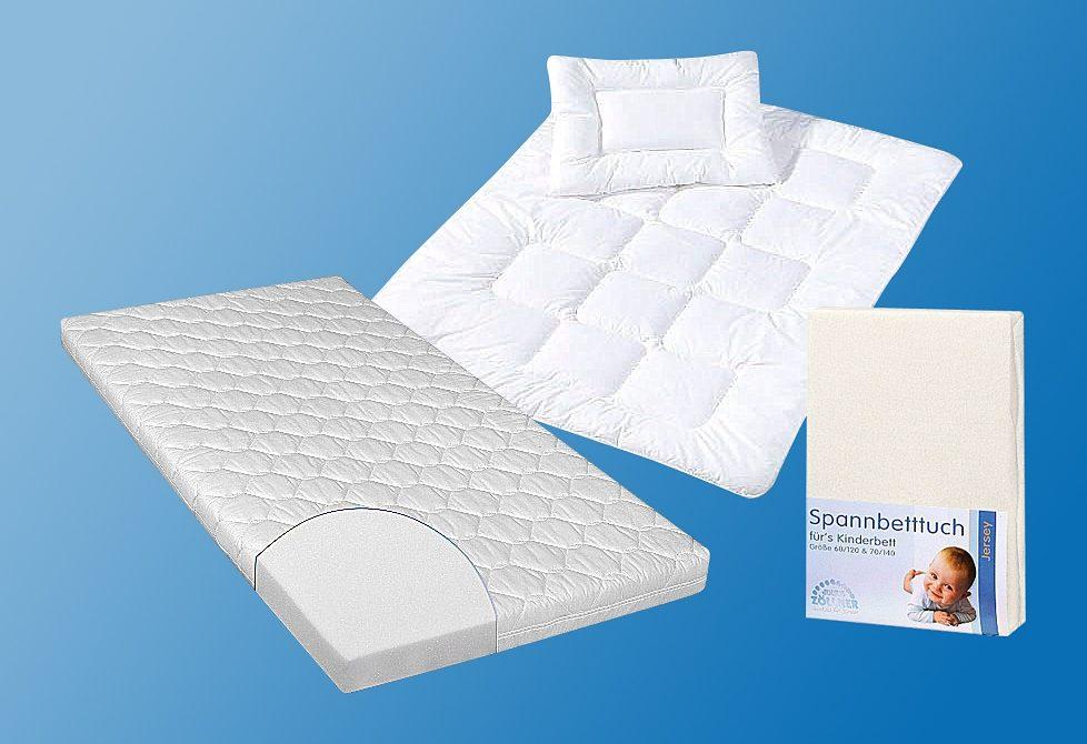 Set: Matratze für Babys & Kleinkinder, Decken-Set & Spannbetttuch, »Kombi Jan«, Zöllner (4-tlg.), 10 cm hoch