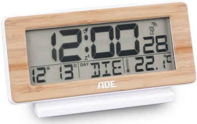 ADE Funkwecker »CK1940« digitaler Funk-Wecker, Bambus-Uhr mit Temperatur- und Wochentag-Anzeige und weißer Display-Beleuchtung, optimal als Tischuhr