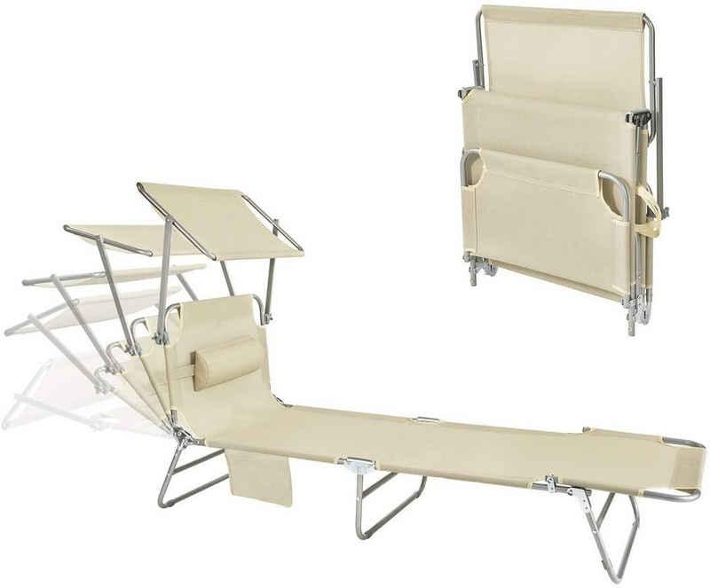 SoBuy Gartenliege »OGS48« Sonnenliege mit abnehmbarem Kopfkissen und verstellbarem Sonnendach Gartenliege mit Seitentasche Strandliege Relaxstuhl Liegestuhl klappbar Rot bis 150 kg