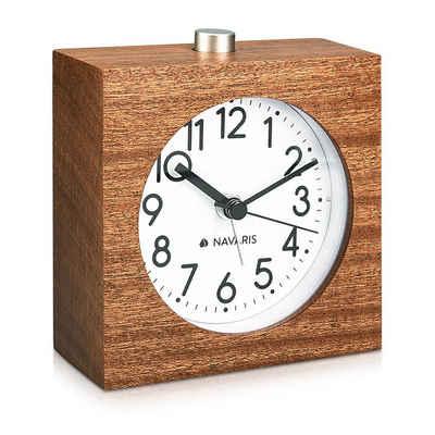 Navaris Reisewecker Analog Holz Wecker mit Snooze - Retro Uhr im Viereck Design mit Ziffernblatt Alarm - Leise Tischuhr ohne Ticken - Naturholz