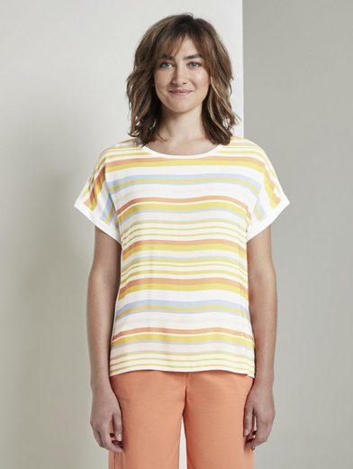 TOM TAILOR T-Shirt »Gestreiftes T-Shirt im Material-Mix«