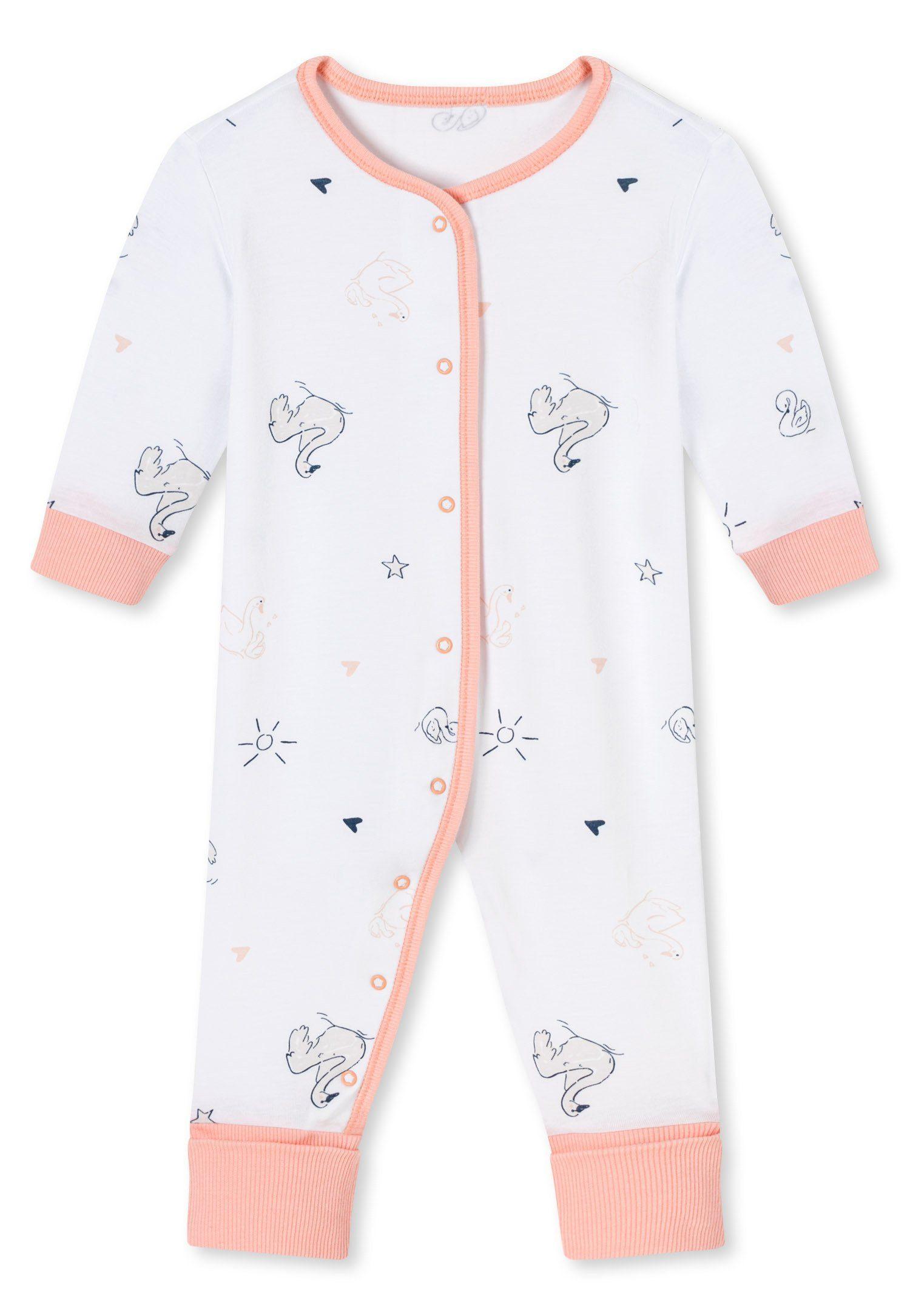 Schiesser Baby Schlafanzug Mädchen 1-tlg Strampler mit Fuß rosa Gr 56-92