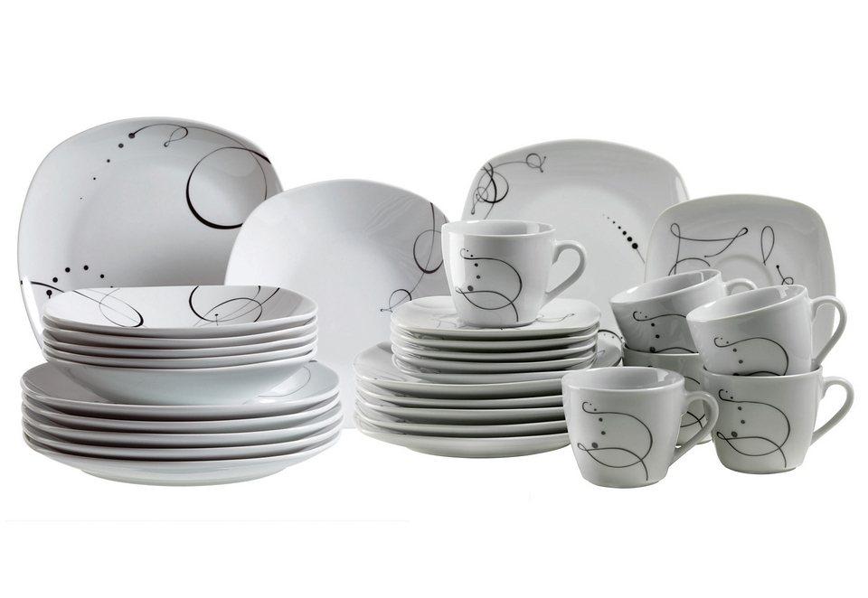 Porzellanserie, »CHANSON« in Weiß, mit filigranem Dekor in Farbe Schwarz