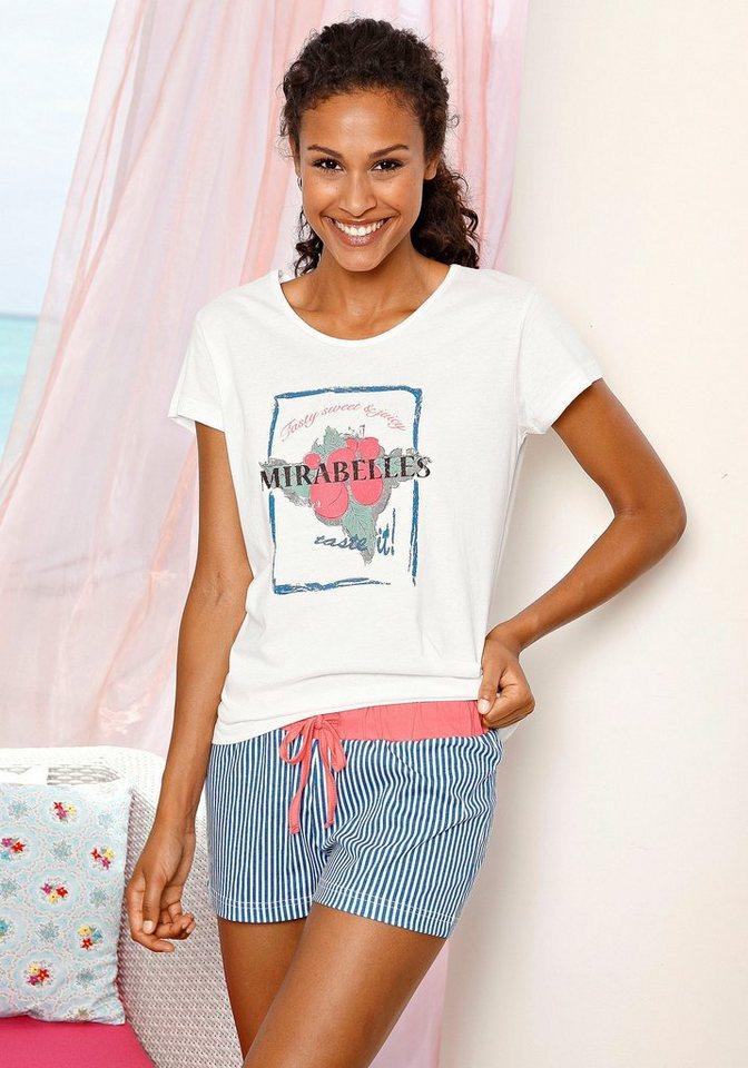 H.I.S Shorty mit gestreifter Shorts & bedrucktem T-Shirt in weiß-gestreift
