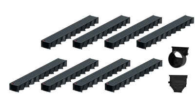 Xanie.EU Regenrinne »8x1m ACO Hexaline 2.0 Entwässerungsrinne Stegrost Stahl verzinkt, anthrazit pulverbeschichtet Ablauf horizontal Bodenrinne Terrassenrinne«, 18-St., flexibles System einfacher Einbau