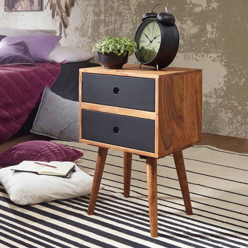 FINEBUY Nachtschrank »SuVa4918_1« Retro Nachtkonsole REPA Sheesham-Holz Nachttisch mit 2 Schubladen dunkelbraun, Design Nachtkästchen 40 x 67 x 35 cm, Kleines Nachtschränkchen