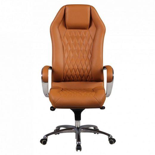 Amstyle Chefsessel »SPM1.296« Bürostuhl MONTEREY Echt-Leder Caramel Schreibtischstuhl 120KG Chefsessel hohe Rückenlehne mit Kopfstütze X-XL