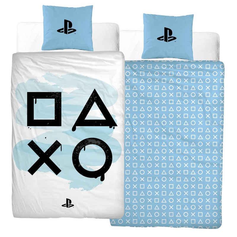 Bettwäsche »PlayStation 5 Bettwäsche Biber 135x200 + 80x80 2 tlg., 100 % Baumwolle kuschelig weich, für Kinder, Teenager, Jugend«, MTOnlinehandel
