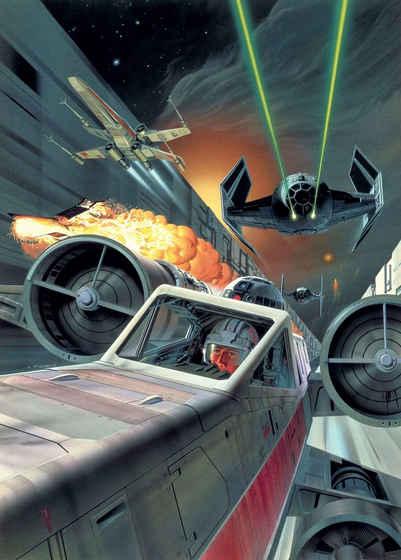 Komar Fototapete »Star Wars Classic Death Star Trench Run«, glatt, futuristisch, mehrfarbig, Weltall, (Packung)