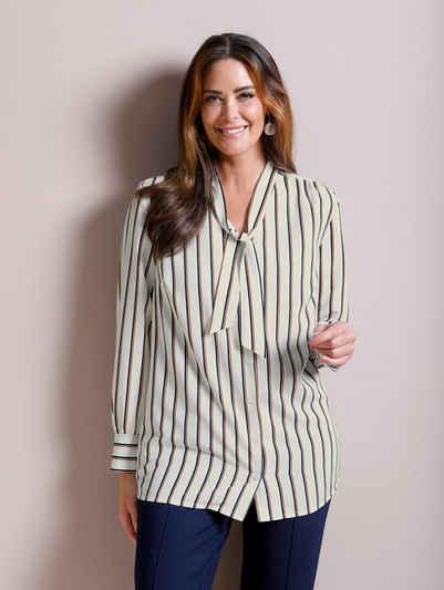 M.collection Bluse Shirt Gr 62 bis 66 Übergröße gemustert 229