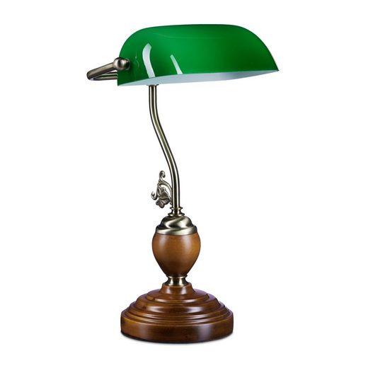 relaxdays Schreibtischlampe »Bankerlampe JONES mit Holzfuß«