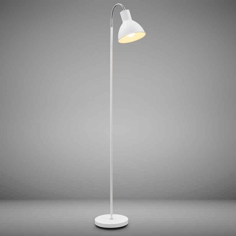 B.K.Licht LED Stehlampe, Stehleuchte Industrial Design Stand-Leuchte schwenkbar Metall E27 weiß