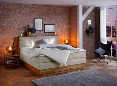 Home affaire Boxspringbett »Cavan«, mit 2 LED-Leuchten, aus massiver Eiche, inkl. Bettkasten & Topper, verschiedene Härtegrade (auch H4)