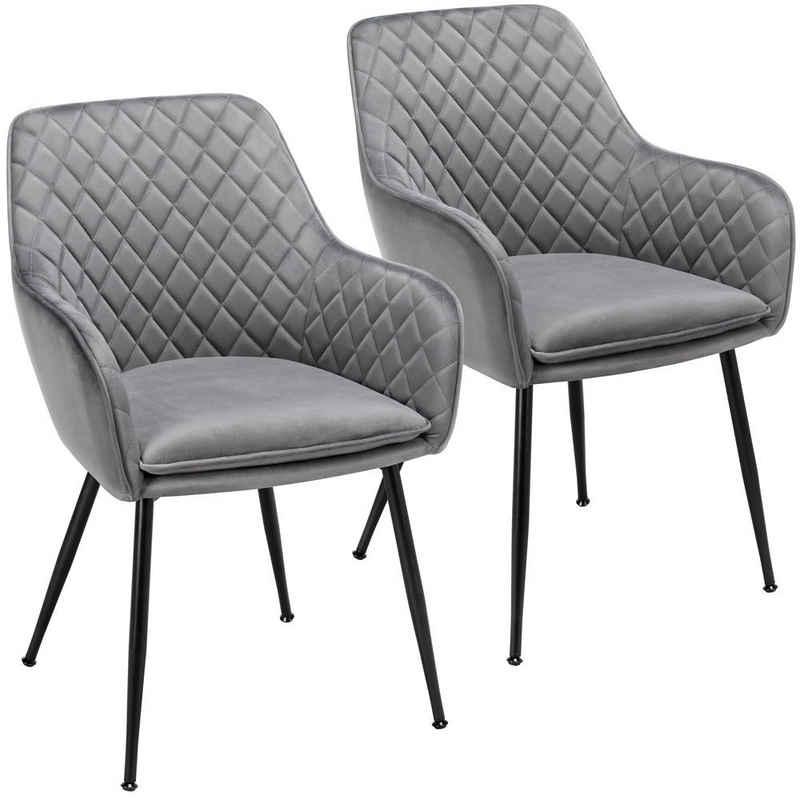 Yaheetech Esszimmerstuhl, Sessel, 2er Set, Polsterstühle mit Armlehnen, Metallbeine, Samtbezug, Grau, für Arbeitszimmer, Wohnzimmer, Schlafzimmer