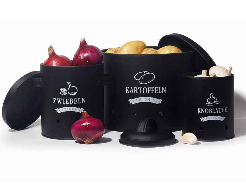 Zedelmaier Vorratsdose »Aufbewahrung Kartoffeln Set,Vorratsdose Kartoffeln, Zwiebeltopf Kartoffeltopf Knoblauchtopf, Großer Vorratsbehälter aus Metall«