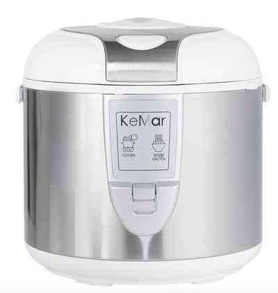 KeMar Kitchenware Reiskocher KRC-120, 700 W, 1.8 Liter, 700W, Edelstahl Dämpfeinsatz, Innentopf mit Titan-Keramik Antihaftbeschichtung, Warmhaltefunktion