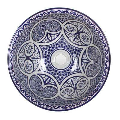Casa Moro Waschbecken »Mediterranes Keramik-Waschbecken Fes108 rund Ø 40cm blau-weiß H 18 cm Handmade Waschschale, Marokkanisches Handwaschbecken für Bad Waschtisch Gäste-WC Badezimmer, WB40318«, Handmade