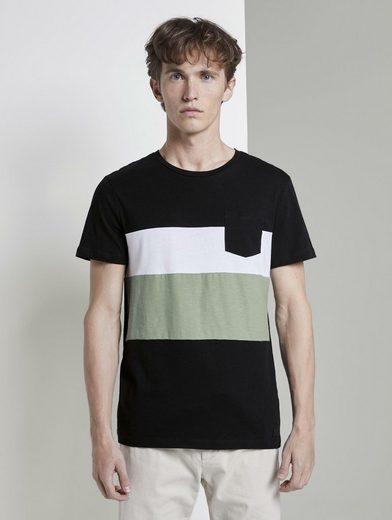 TOM TAILOR Denim T-Shirt »Gestreiftes T-Shirt im Material-Mix«