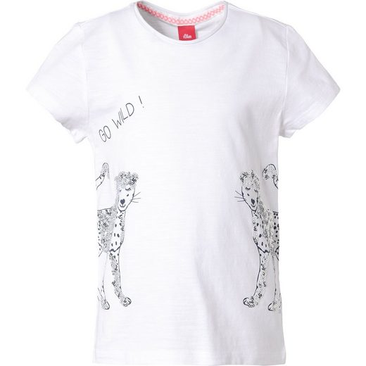 s.Oliver T-Shirt mir Pailletten und Rückenprint für Mädchen