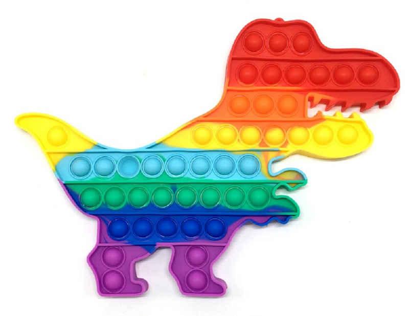 C&T Spiel, »Regenbogen Dinosaurier T-Rex 30 cm - Pop It Bubble Push Plop Up Fidget - Anti-Stress Spiel«