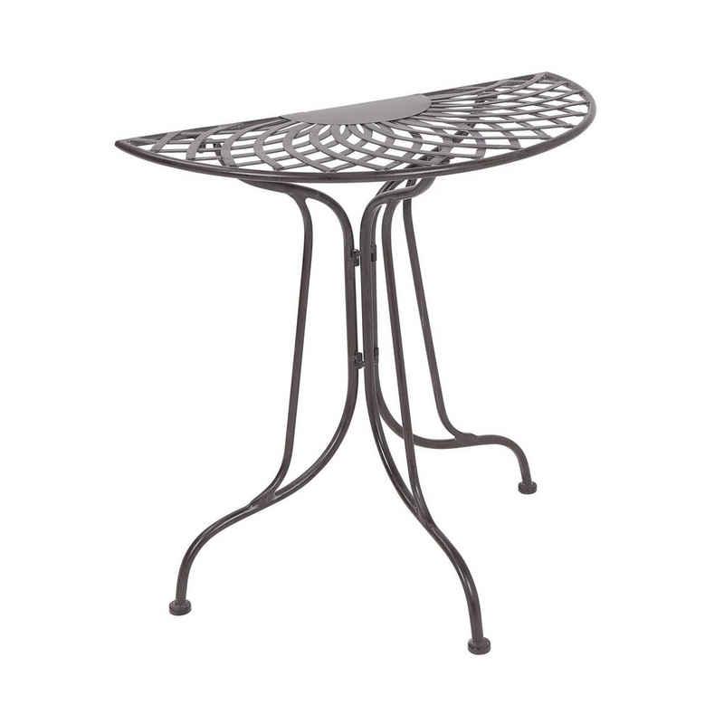 BUTLERS Gartentisch »MANDALA GARDEN Tisch halbrund«, halbrunder Tisch in Dunkelbraun - Balkontisch aus Eisen - wetterfest und unempfindlich