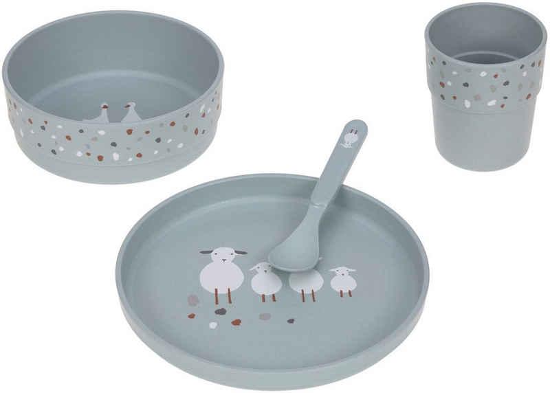 LÄSSIG Kindergeschirr-Set »Tiny Farmer, Sheep/Goose blue« (4-tlg), Polypropylen, Zellulose