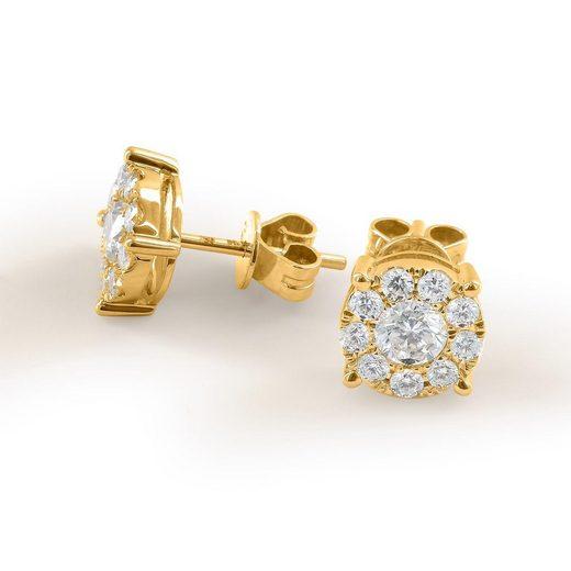Stella-Jewellery Paar Ohrstecker »750er Gold Ohrstecker mit Diamanten zus. 0,21ct.«, Diamanten Solitaire Ohrringe Brilliant 18K