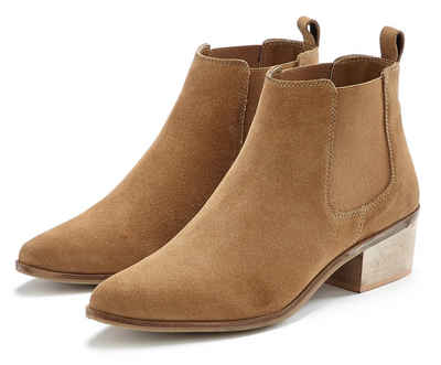 LASCANA Stiefelette aus Veloursleder Chelsea Boots im modischen Cowboy-Look